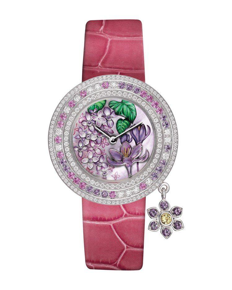 Charms Extraordinaire Désir腕表,白K金、珍珠母貝、紫...