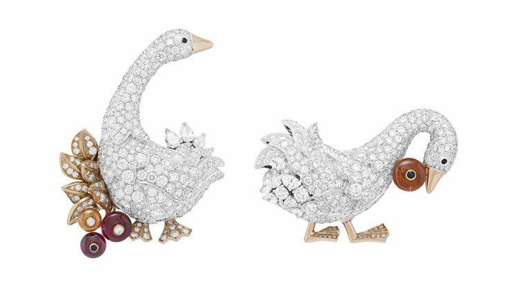 挪亞方舟系列高級珠寶Oies胸針,白K金與玫瑰金鑲嵌錳鋁榴石、黑色尖晶石、紅碧璽...