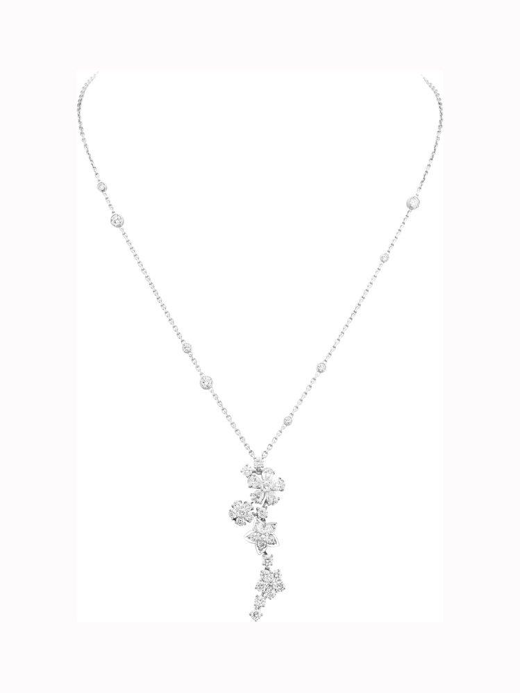 Folie des Prés吊墜,白K金鑲嵌鑽石,約224萬元。圖/梵克雅寶提供