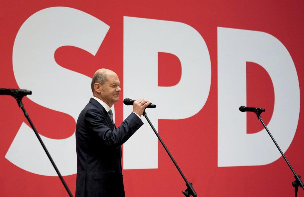 社民黨成為德國下屆國會最大黨後,黨主席蕭茲發表談話。美聯社