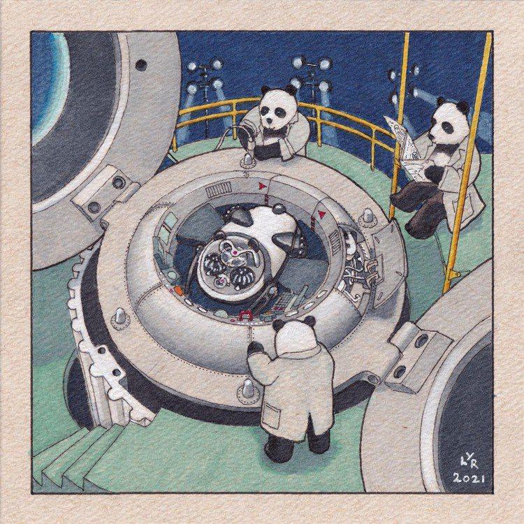 Lee Yuen-Rapati為腕表繪製的多幅HM10 Panda插畫,也將隨腕...