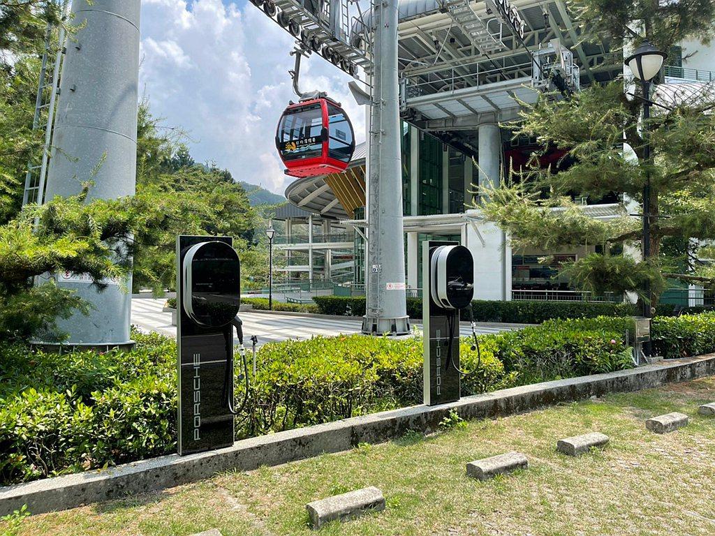 日月潭纜車新增保時捷目的地充電據點。 圖/Porsche提供