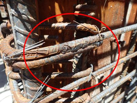 ▌SRC柱交接處補10cm電銲,以達閉合箍效果。