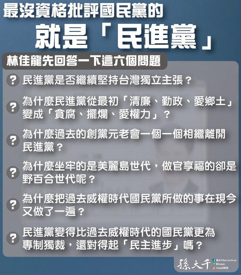 前立委孫大千說,最沒資格批評國民黨的就是民進黨。圖/取自孫大千臉書