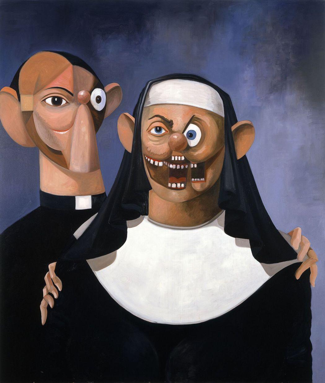 喬治康多的油布畫作「修女與神父」拍賣價約新台幣7千2百萬元。圖/佳士得提供