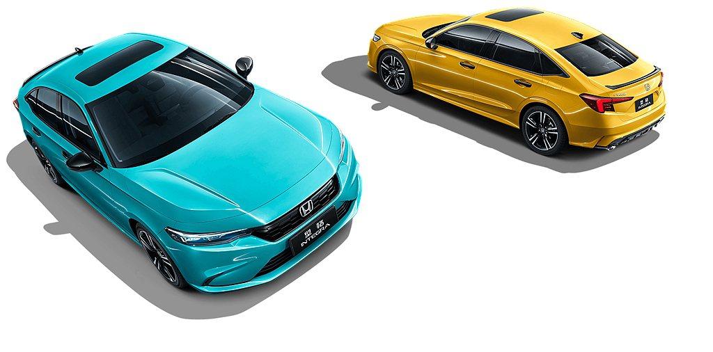 廣汽本田型同步公開兩種搶眼的熾熱黃、翡絢藍「型格」外觀新車色。 圖/廣汽本田提供