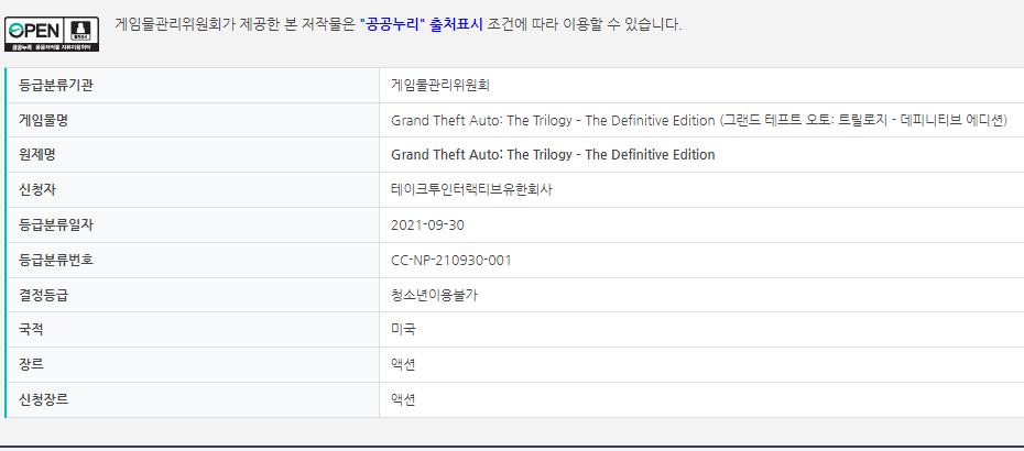 《俠盜獵車手三部曲-決定版》出現在韓國遊戲分級網站