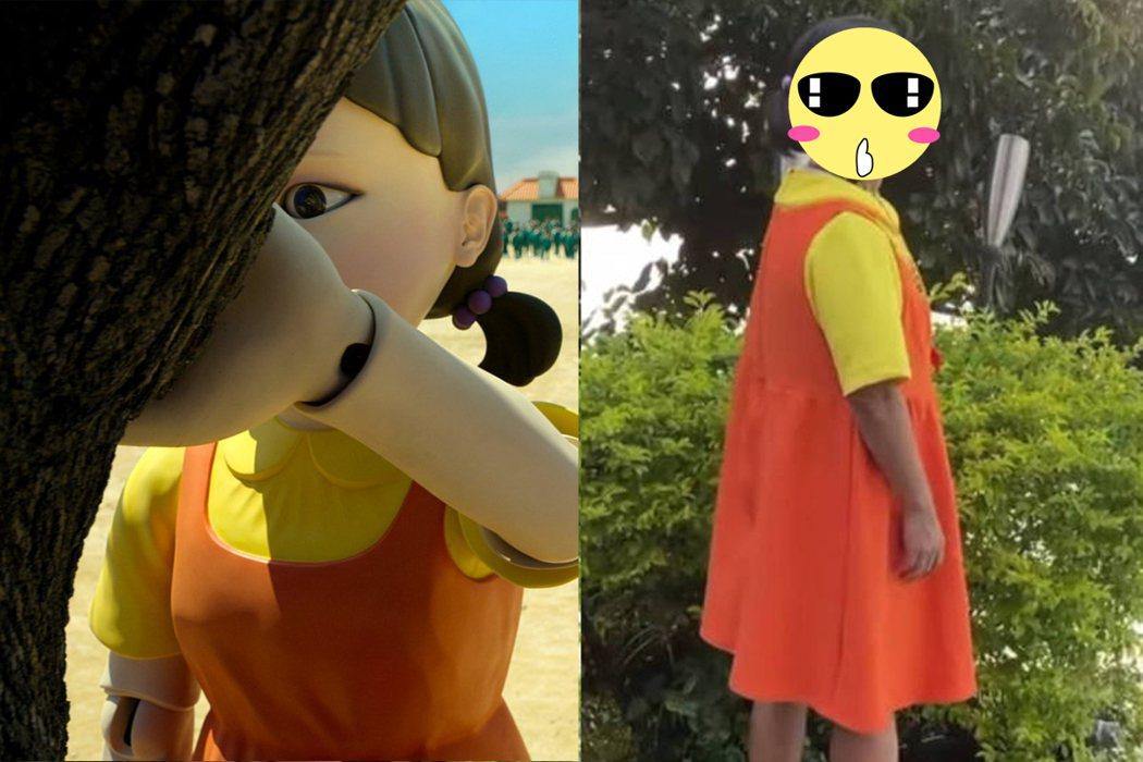 吳宗憲模仿《魷魚遊戲》殺人娃娃。 圖/NETFLIX提供、擷自facebook。