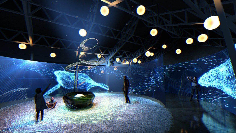 新竹公園內的「風Live house」是期間限定展區之一,「風起夢境」科技互動作...