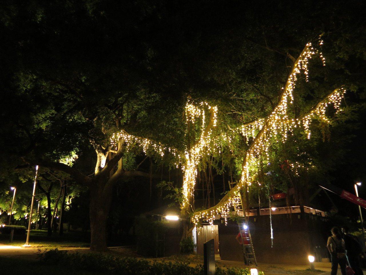 新竹公園的光臨藝術節展品與燈飾不少,增添繽紛夜色。 圖/張裕珍 攝影