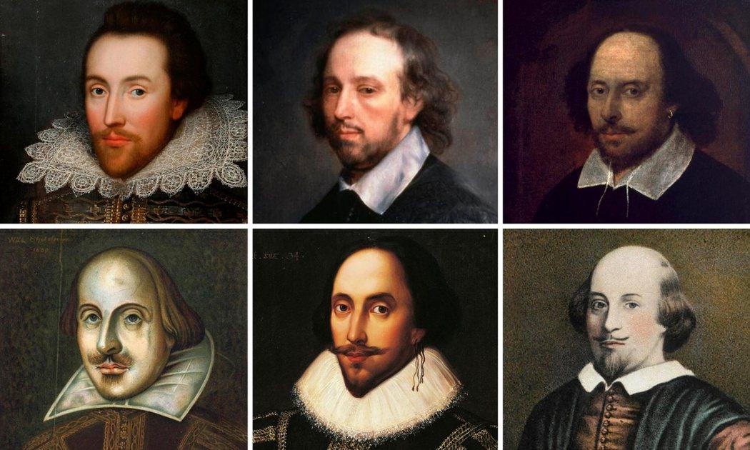 大筆左右世界對歷史的認知,自己真身卻又是歷史之謎的莎士比亞。圖為六個版本的莎翁肖...