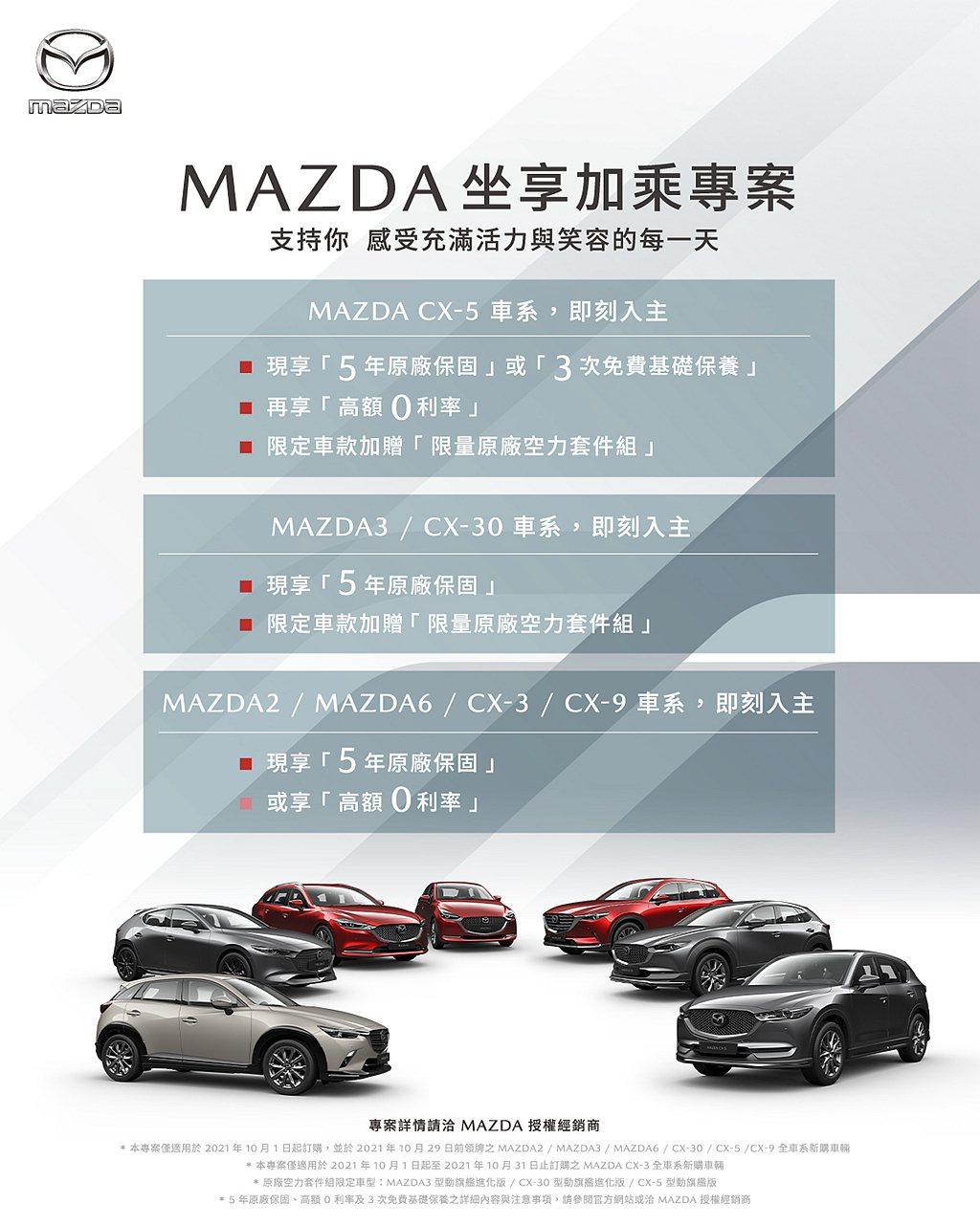 Mazda「坐享加乘」專案,除指定車型限時、限量免費加贈「原廠空力套件組」之外,...