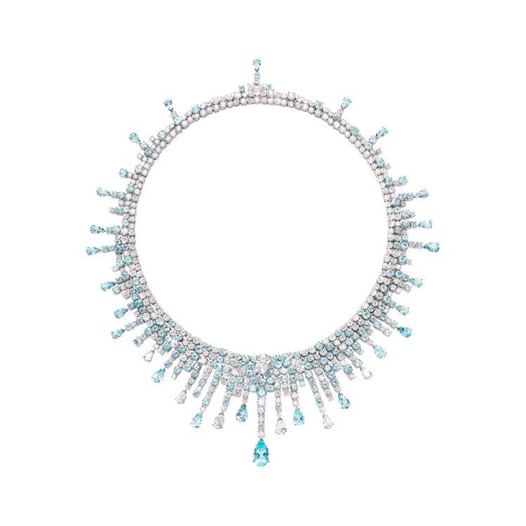 PIAGET Sunlight Journey系列藍色碧璽鑽石頂級珠寶項鍊。 圖...