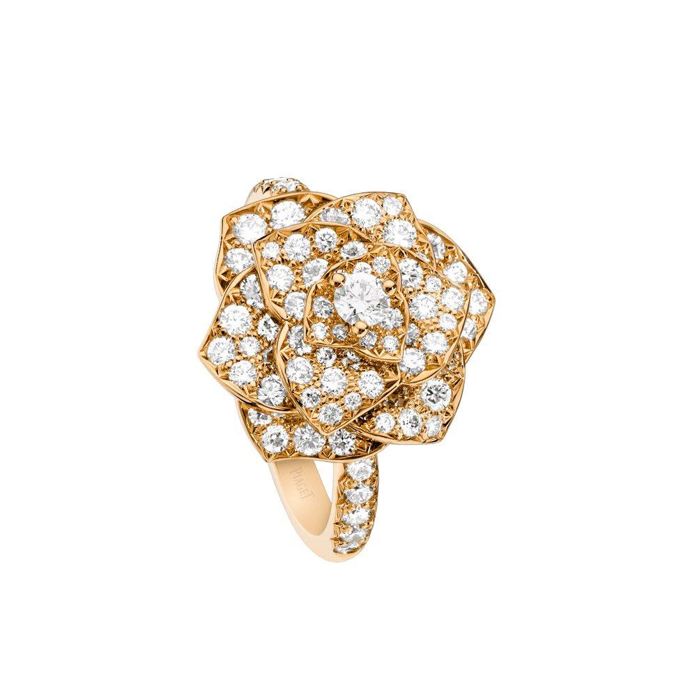 PIAGET Rose系列18K玫瑰金鑽石戒指,34萬7,000元。圖 / PI...