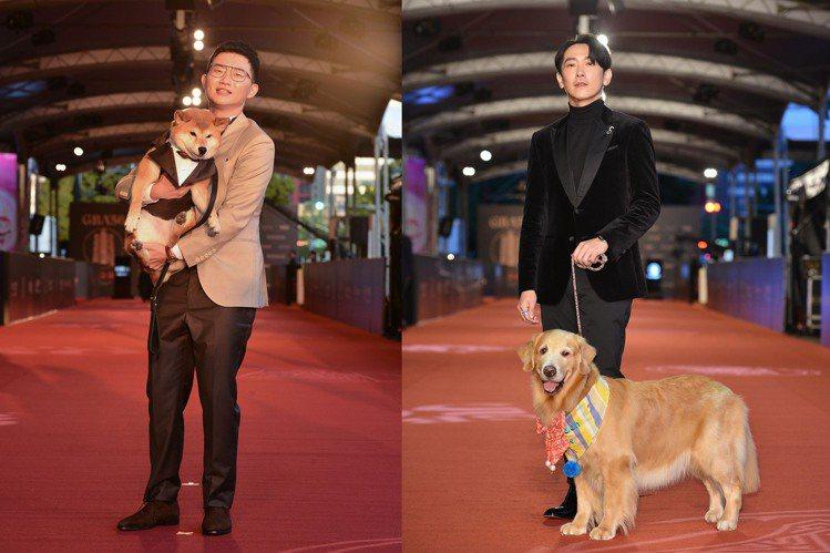 網紅視網膜(左)與愛犬女兒「柚子」、施名帥帶著劇中的黃金獵犬演員「歐瑞恩」一起現...