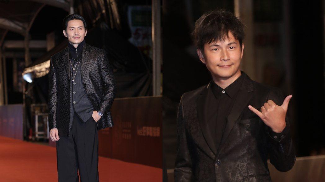 孫協志(右)與姚淳耀(左)兩人一前一後走金鐘紅毯。 記者李政龍/攝影