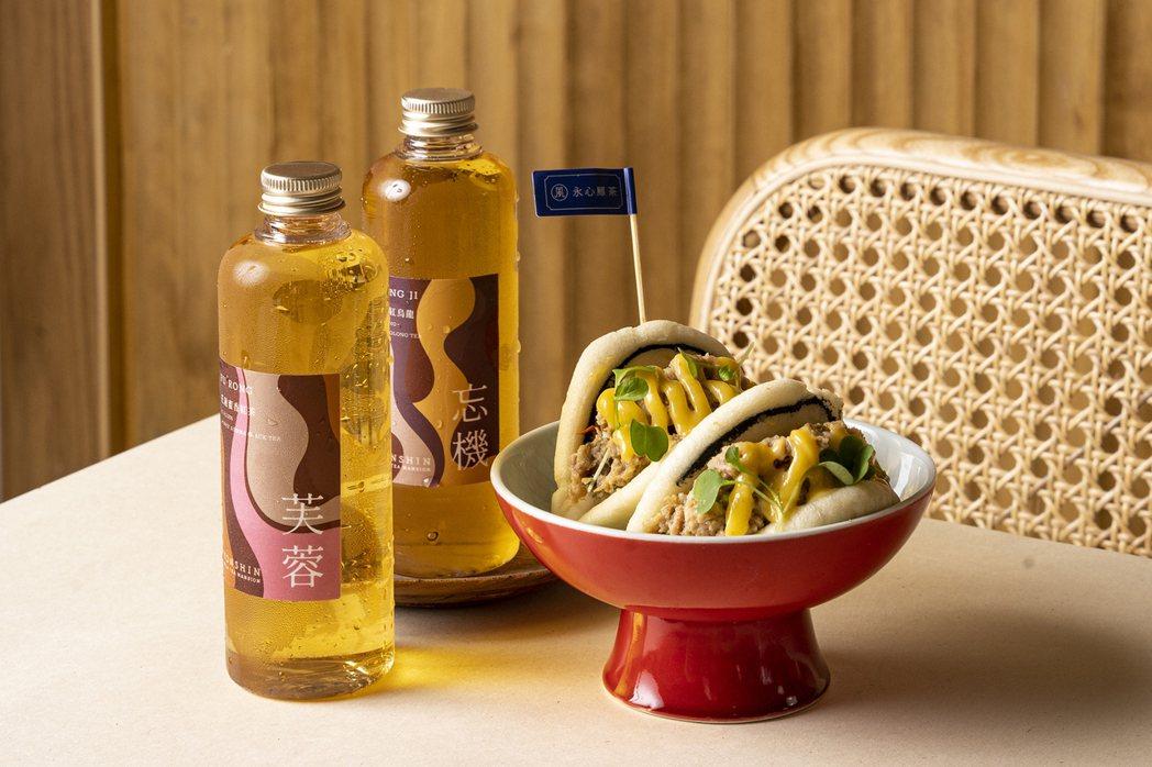 「永心鳳茶-奶茶專門所」特別針對500案內所推出「虎咬獅刈包」,每份180元。圖...