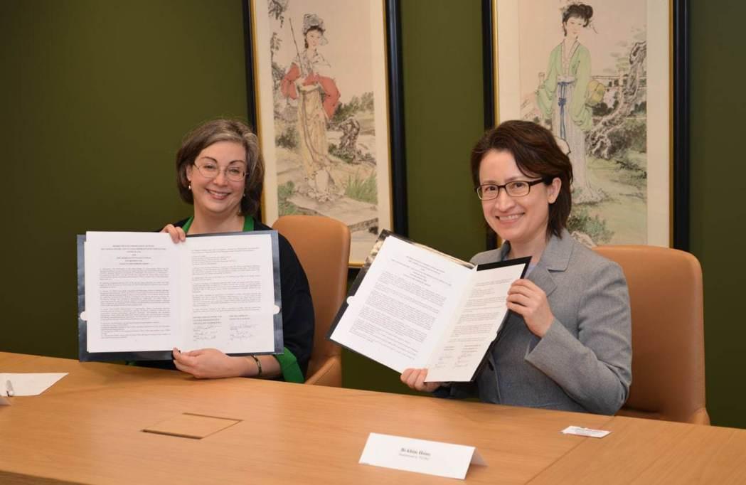 駐美代表蕭美琴(右)與AIT執行理事藍鶯(Ingrid Larson,左)簽署「設立海巡工作小組瞭解備忘錄」。 圖/駐美代表處提供