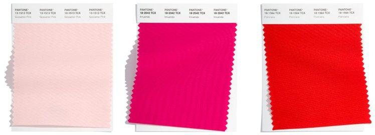 圖/微新聞提供 (左而右)薄紗粉、影射紅、鳳凰木紅。source:pantone