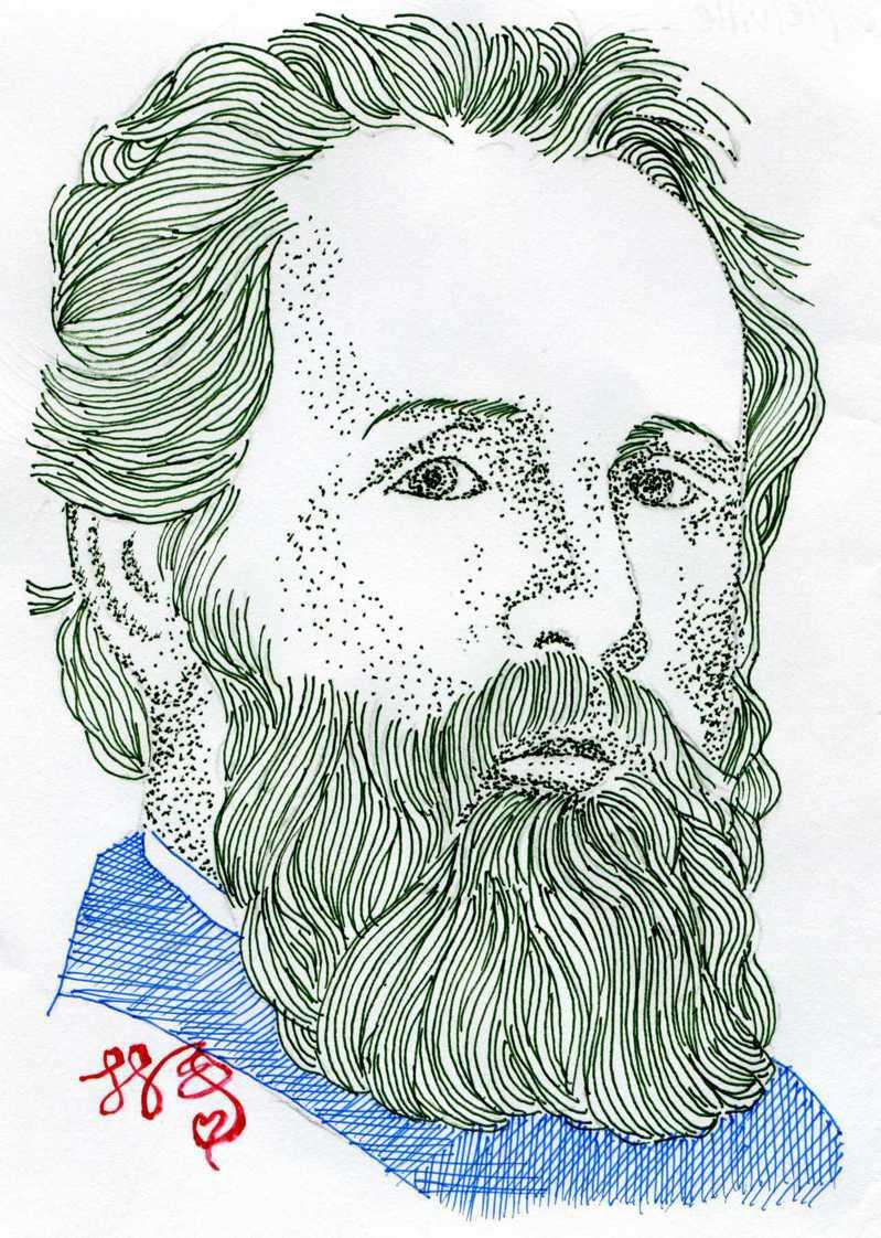 梅爾維爾 (Herman Melville; 1819-1891)。圖/林一平繪