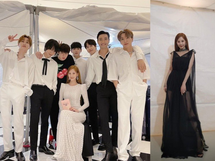 徐玄和出道17年的Super Junior哥哥們合照,在TMA以黑、白兩套服裝展...