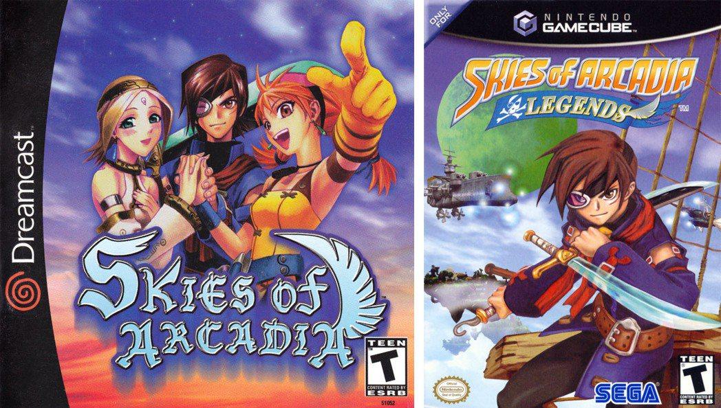 永恆的阿爾卡迪亞在歐美市場以「Skies of Arcadia」之名發行,左為美...