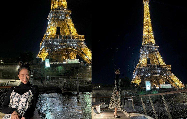 BLACKPINK成員JISOO在巴黎鐵塔前。圖/摘自instagram