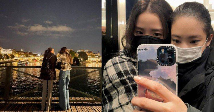 BLACKPINK成員JISOO與Jennie現身巴黎藝術橋。圖/摘自insta...