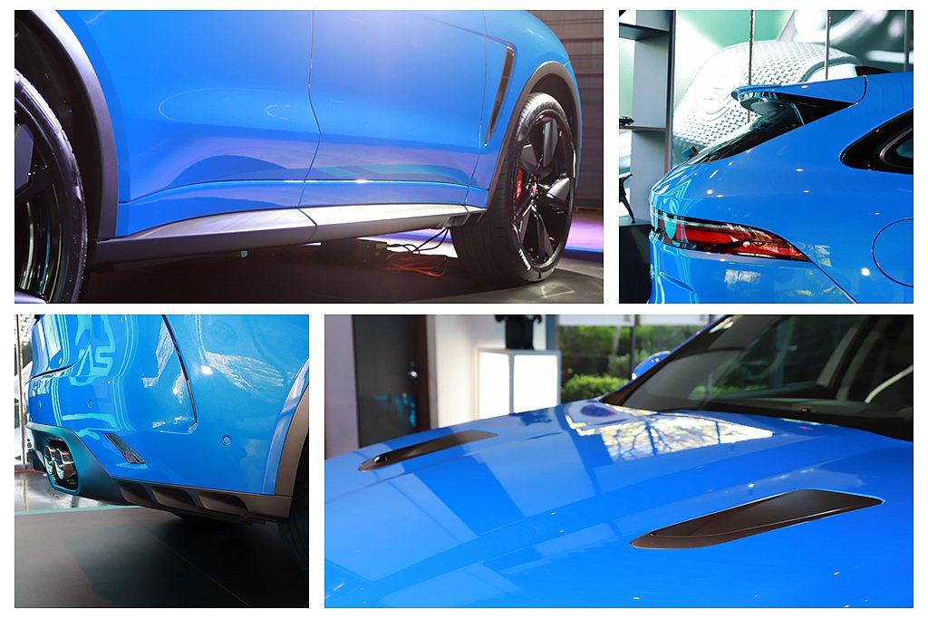 小改款Jaguar F-Pace SVR外觀具有SVR專屬引擎蓋進氣孔、SVR車...