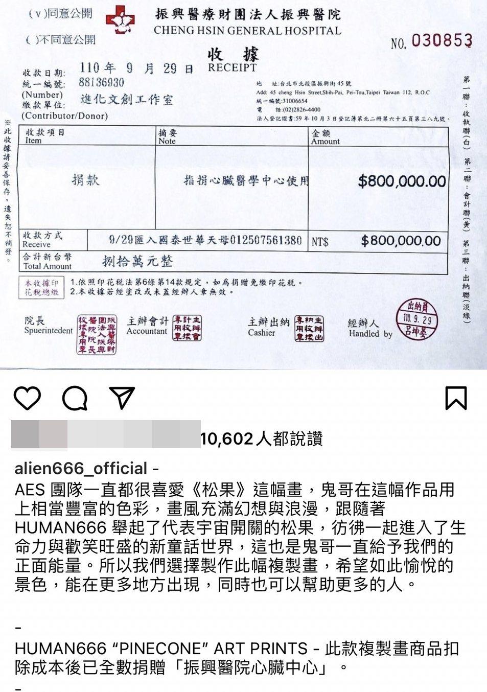 黃鴻升(小鬼)的複製畫作售出,捐出80萬給振興醫院。圖/摘自IG