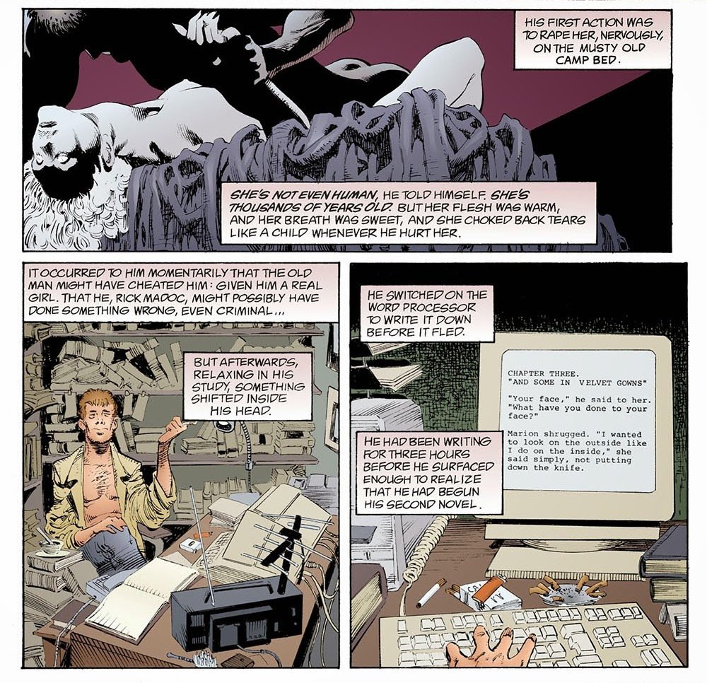 馬多克「向惡魔作了交易」,這在本故事中具體的畫面,是監禁、強暴「謬思女神」,但或許也可以代入其他放棄創作理念和良心的行為。 圖/DC Comics