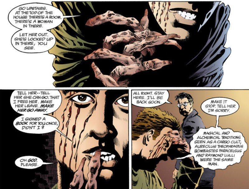 靈感實在來得太多太兇猛了,馬多克非得馬上把它們釋放出去、寫下來不可,他用他的手指在牆上寫著,直到手指皮開肉綻,再也無法握筆或打字。 圖/DC Comics