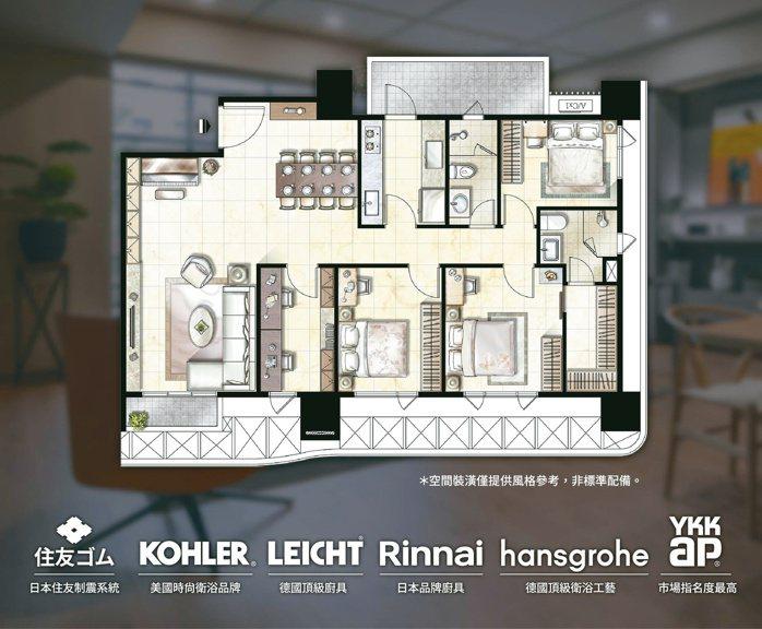「達永冬慶」55坪SRC制震大四房,房間、衛浴皆開窗,坪效好。