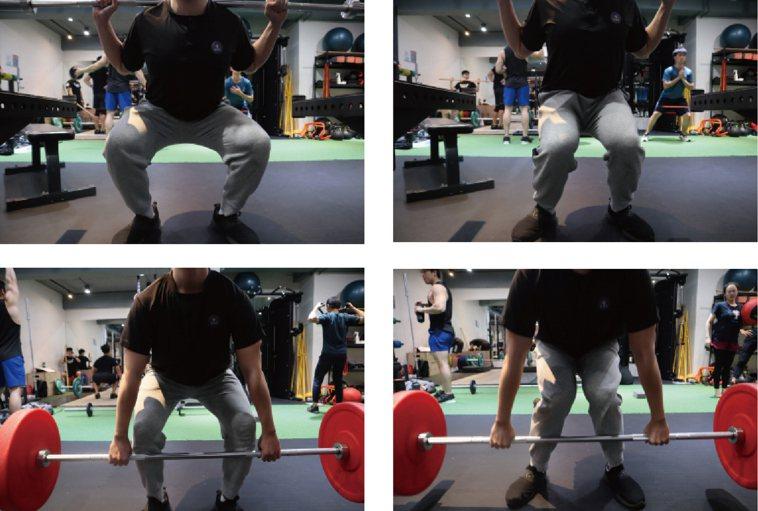 (圖八)常見出問題的訓練動作:深蹲、硬舉(「練健康」健身房協助製作)