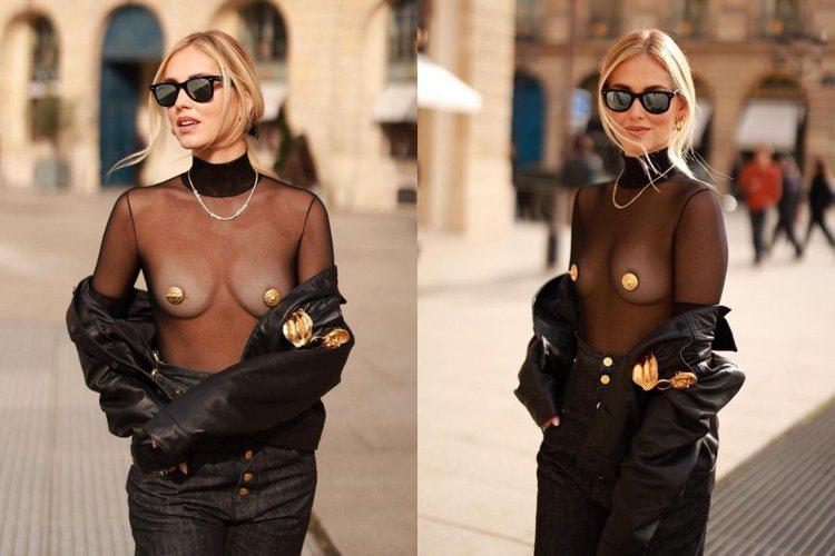 Chiara Ferragni曾穿Schiaparelli的「金色胸貼」搭配黑色...