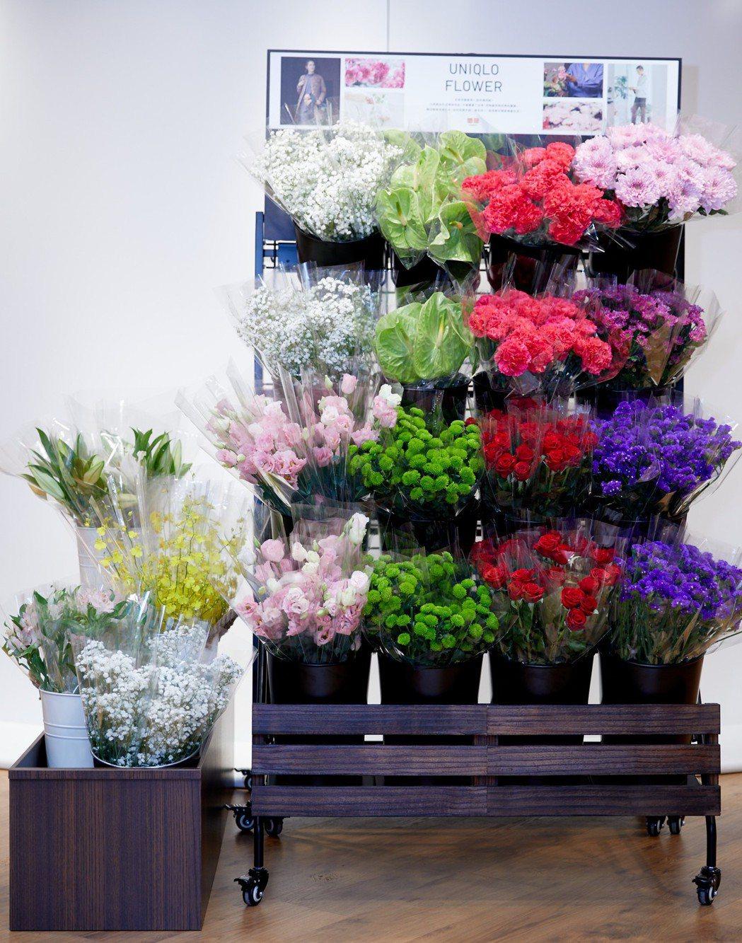 品牌代言人徐若瑄力推的UNIQLO花店。圖/UNIQLO提供