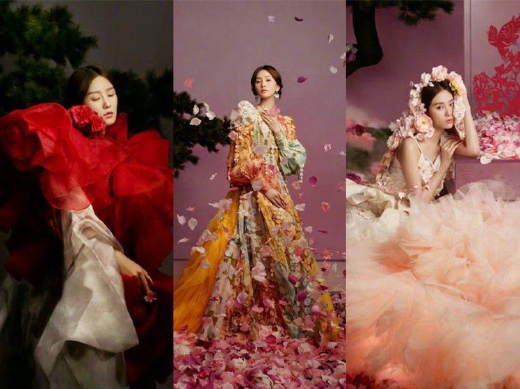 劉詩詩在《時尚芭莎》的10月號以牡丹仙子的主題拍出浪漫夢幻的大片。圖/取自微博