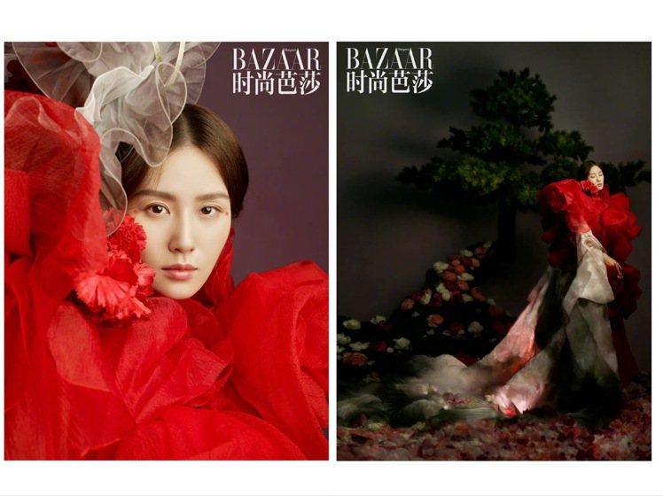 妖豔華麗的造型,是以和服輪廓的Yumi Katsura外衣、罩上Ryzy 202...