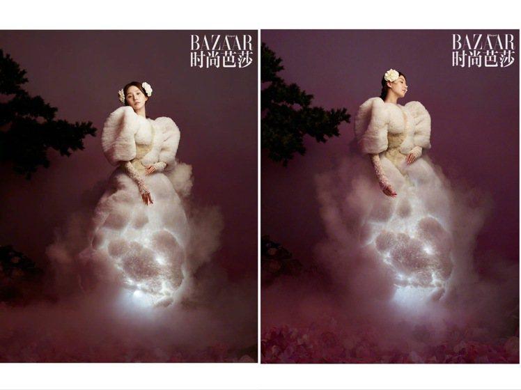 劉詩詩詮釋郭培Guo Pei 2020春夏高級訂製服,如同雪白雲朵堆疊的服裝相當...