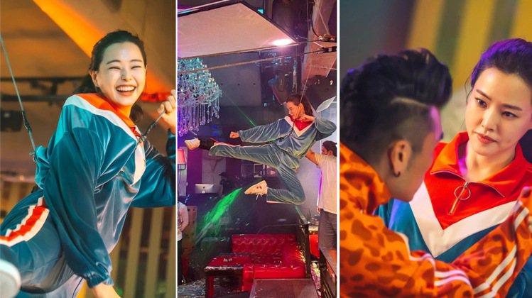 在打鬥戲中,李荷妮身穿韓國CLUT STUDIO運動服搭配VEJA小白鞋。圖/取...