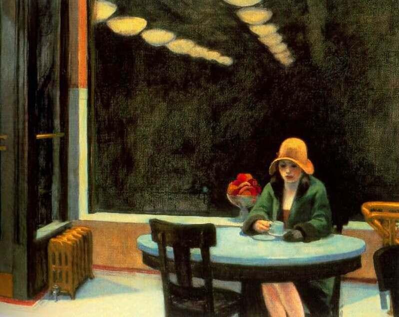 愛德華霍普的畫作「Automat」。圖/摘自edwardhopper.net