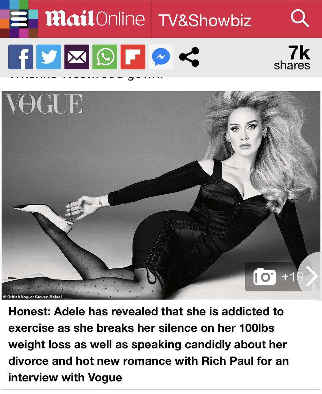 愛黛兒最新雜誌美照上竟然雙頰凹陷,乍看還以為是尋常模特兒。圖/摘自Daily M...