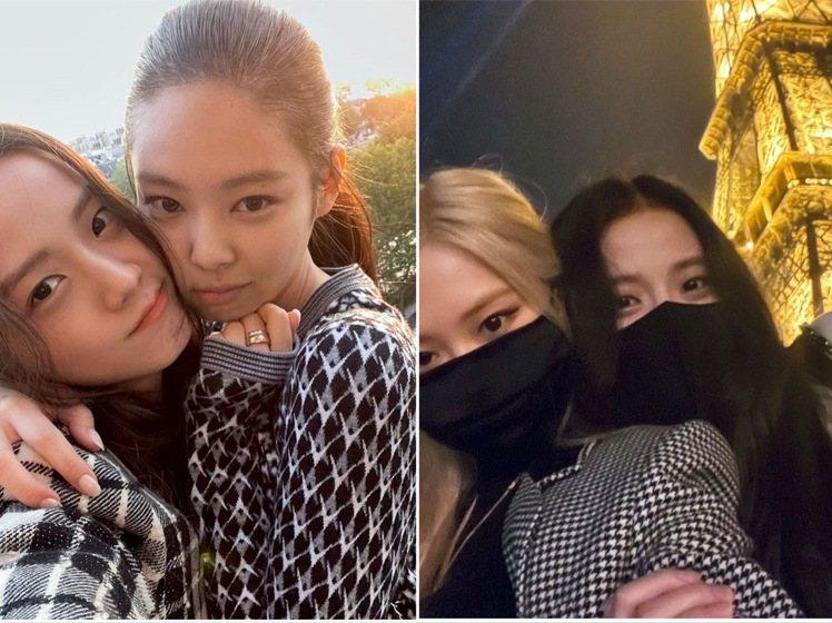 Jisoo和同時前往巴黎時裝周的Jennie、Rose合影。圖/取自IG