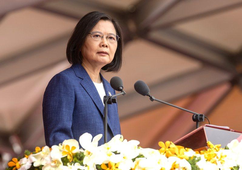 蔡英文總統今早在國慶大會發表演說,提出四個堅持。記者季相儒/攝影
