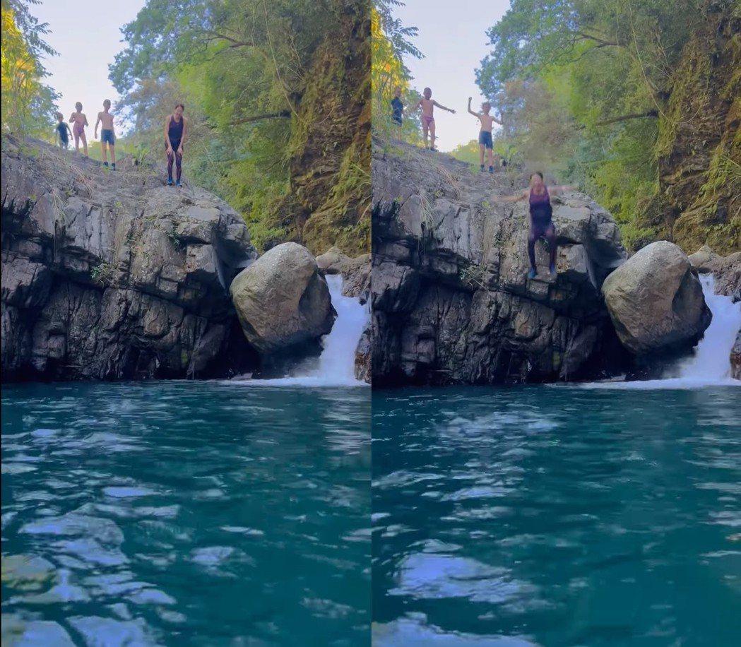 賈永婕在野外高唱國歌,還嘗試跳水。 圖/擷自賈永婕臉書