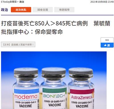 打疫苗後死亡850人,新冠肺炎死亡845人,保命變奪命? 圖/取自科學的養生保健