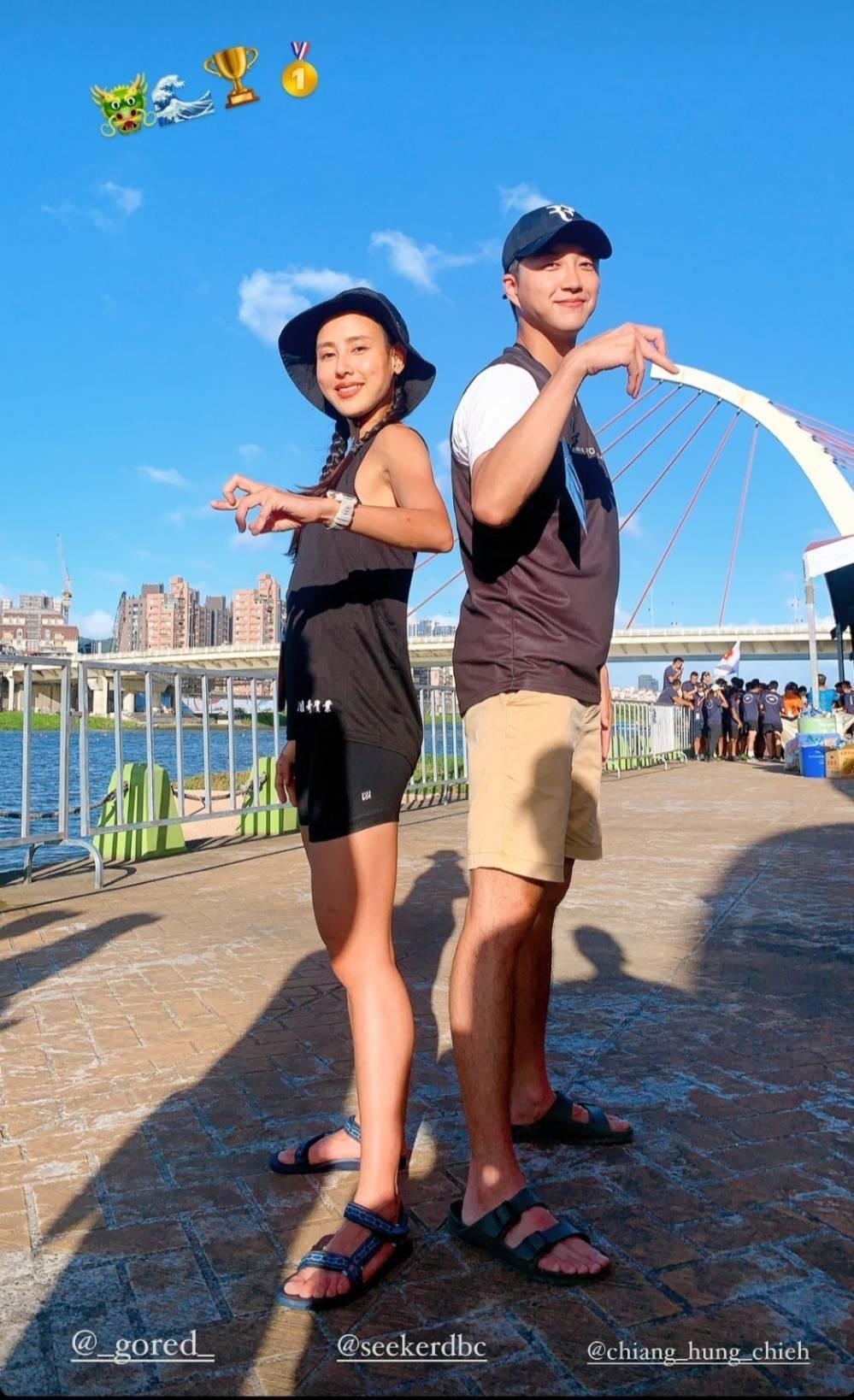 房思瑜和江宏傑在龍舟賽上合照打卡。圖/摘自IG