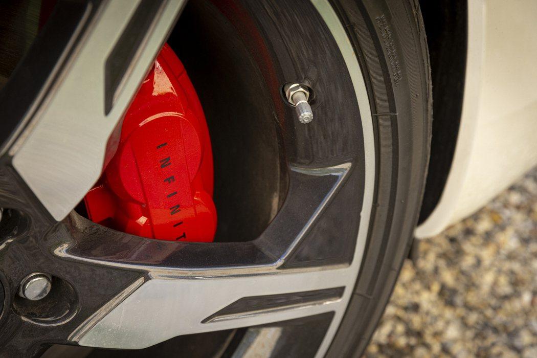 RED SPORT 400車型也標配升級版前四後二紅色塗裝卡鉗。 摘自Infin...