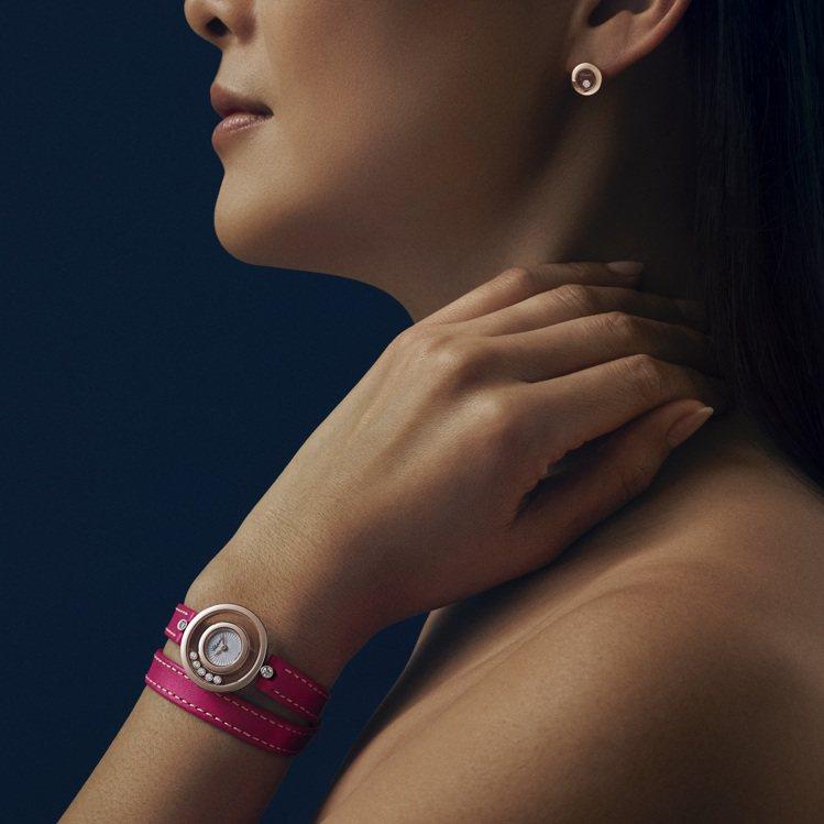 Happy Diamonds雙圈錶帶腕表,26毫米符合倫理道德標準之18K玫瑰金...