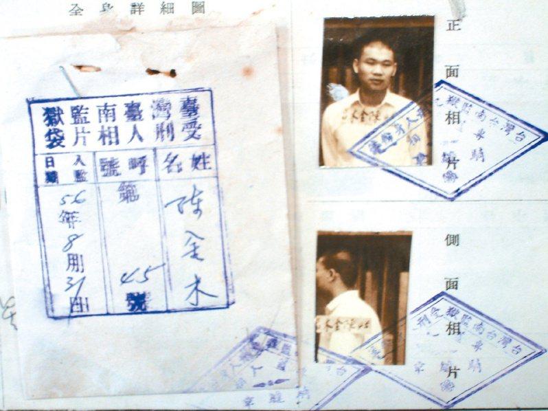 台南監獄找出當年陳金木入獄的檔案,上面還有陳金木年輕時的照片。圖/聯合報系資料照
